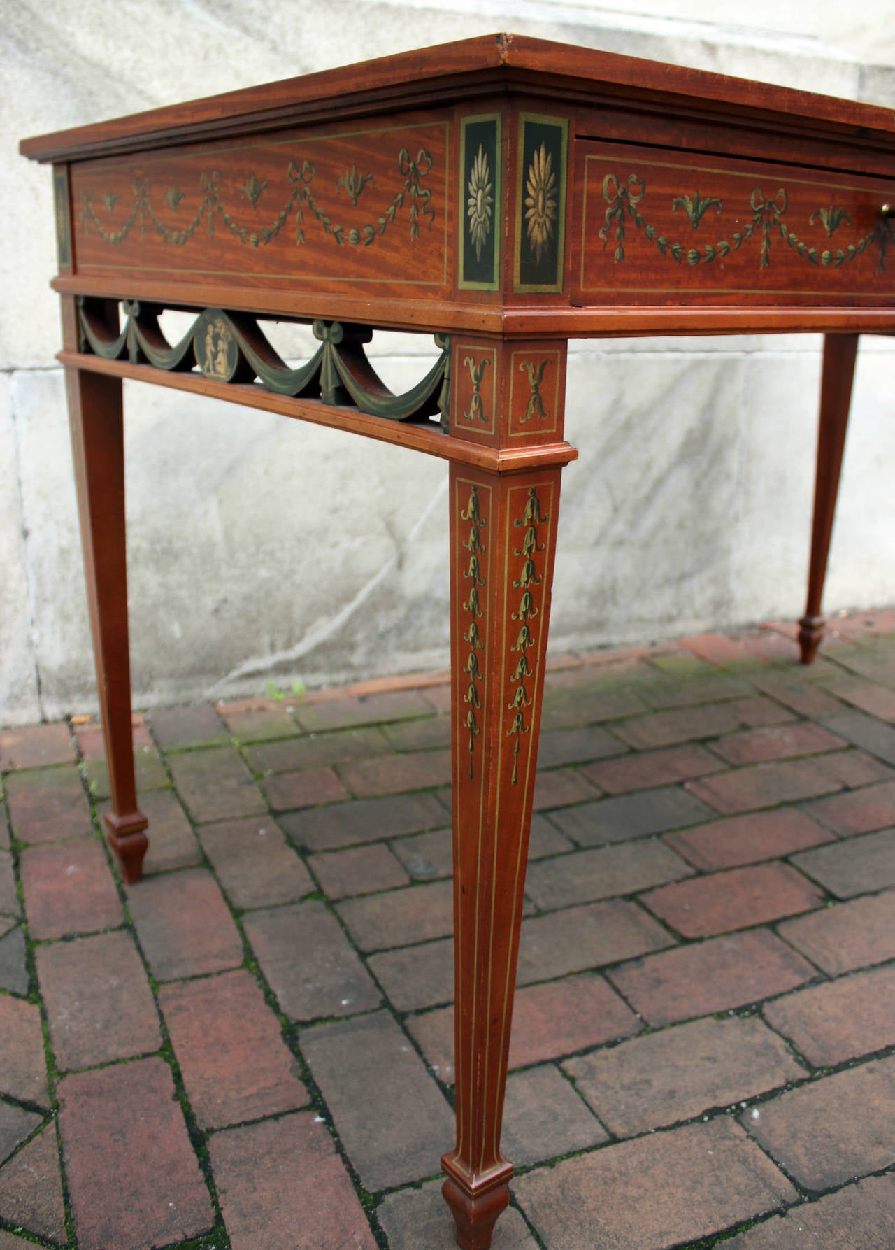 19th Century English Adam Style Satinwood Desk For Sale 4