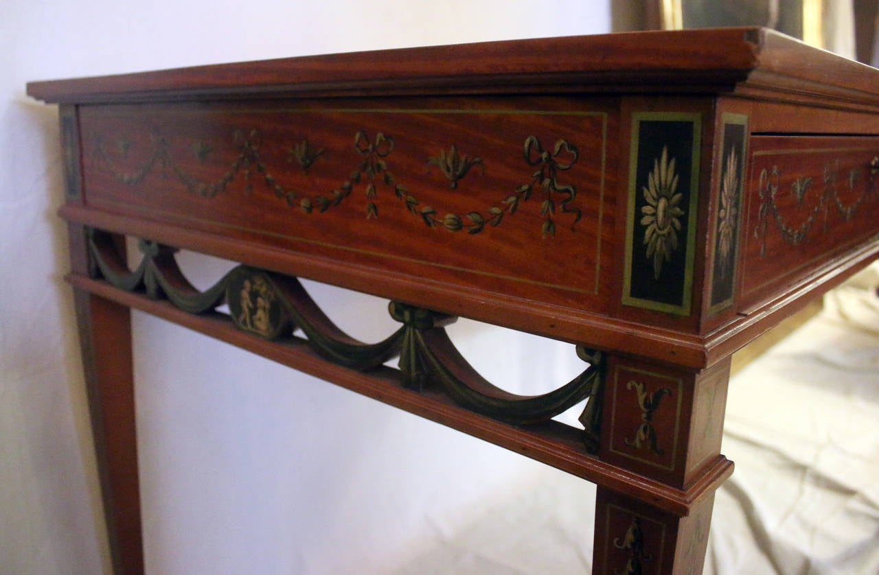 19th Century English Adam Style Satinwood Desk For Sale 1