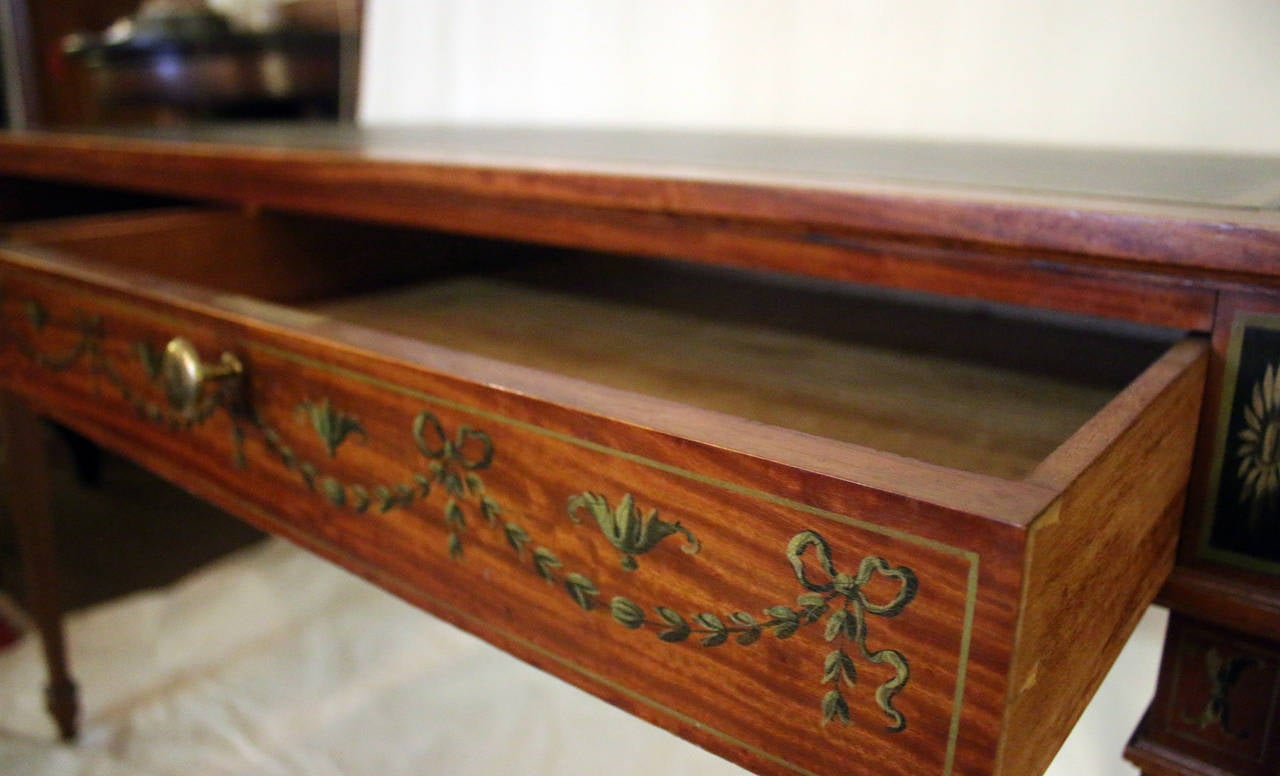 19th Century English Adam Style Satinwood Desk For Sale 2