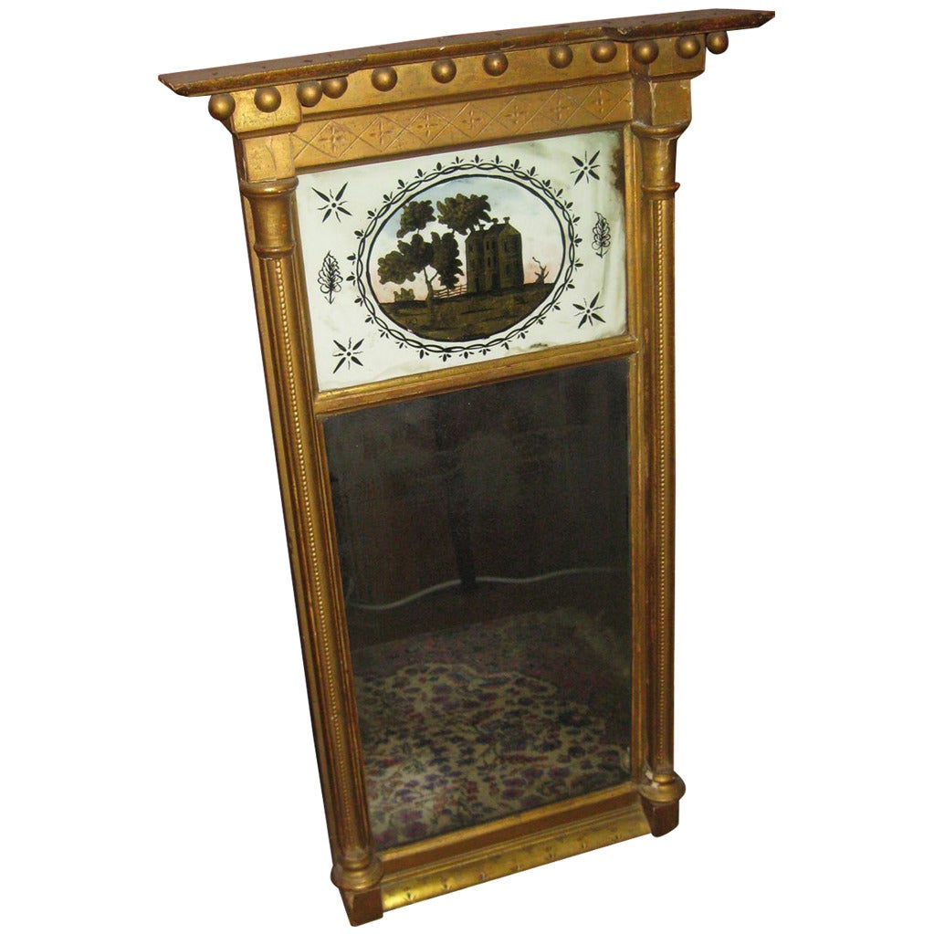 19th century Giltwood and Églomisé American Federal Mirror