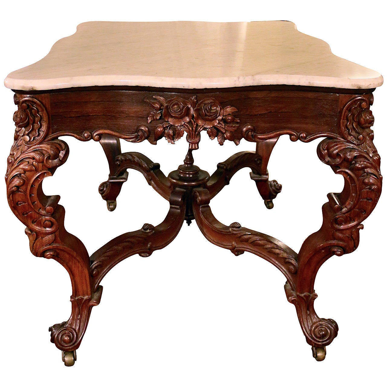 Victorian carved rosewood center table w marble turtle top cottone - 19th Century Rococo Rosewood Center Table