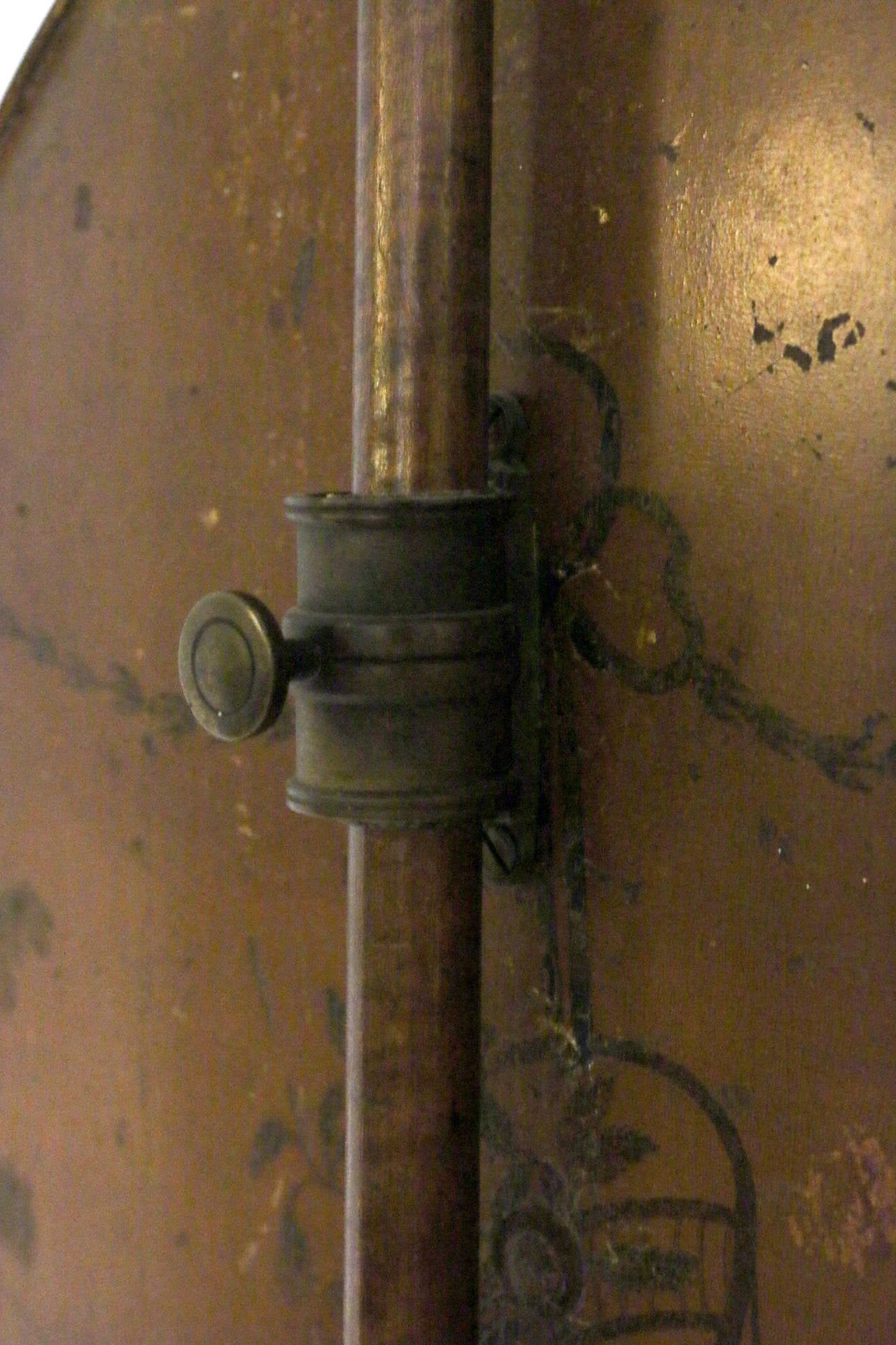 Early 19th Century Early American Stenciled Maple Pole Screen For Sale