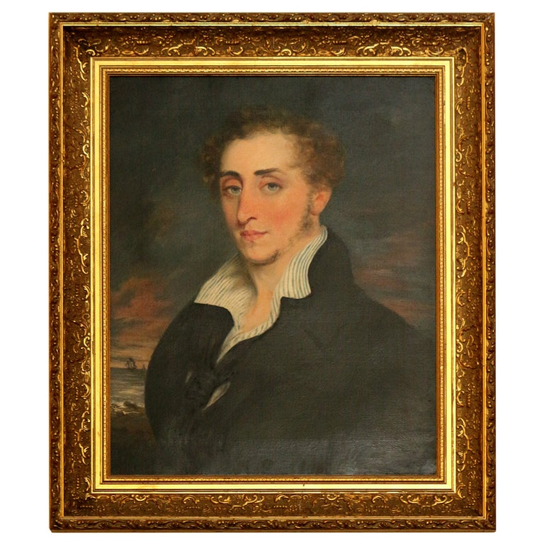 19th Century Nautical Portrait Oil Painting in Giltwood Frame For Sale