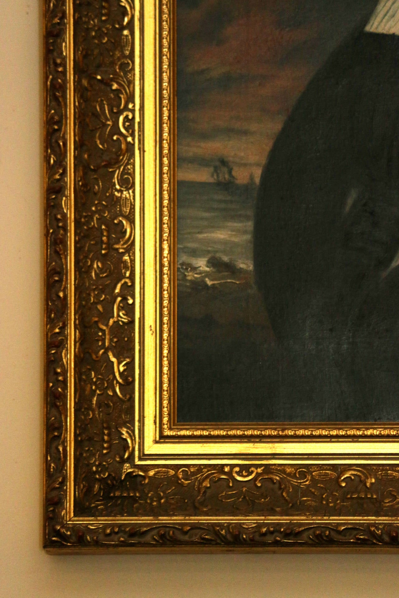English 19th Century Nautical Portrait Oil Painting in Giltwood Frame For Sale
