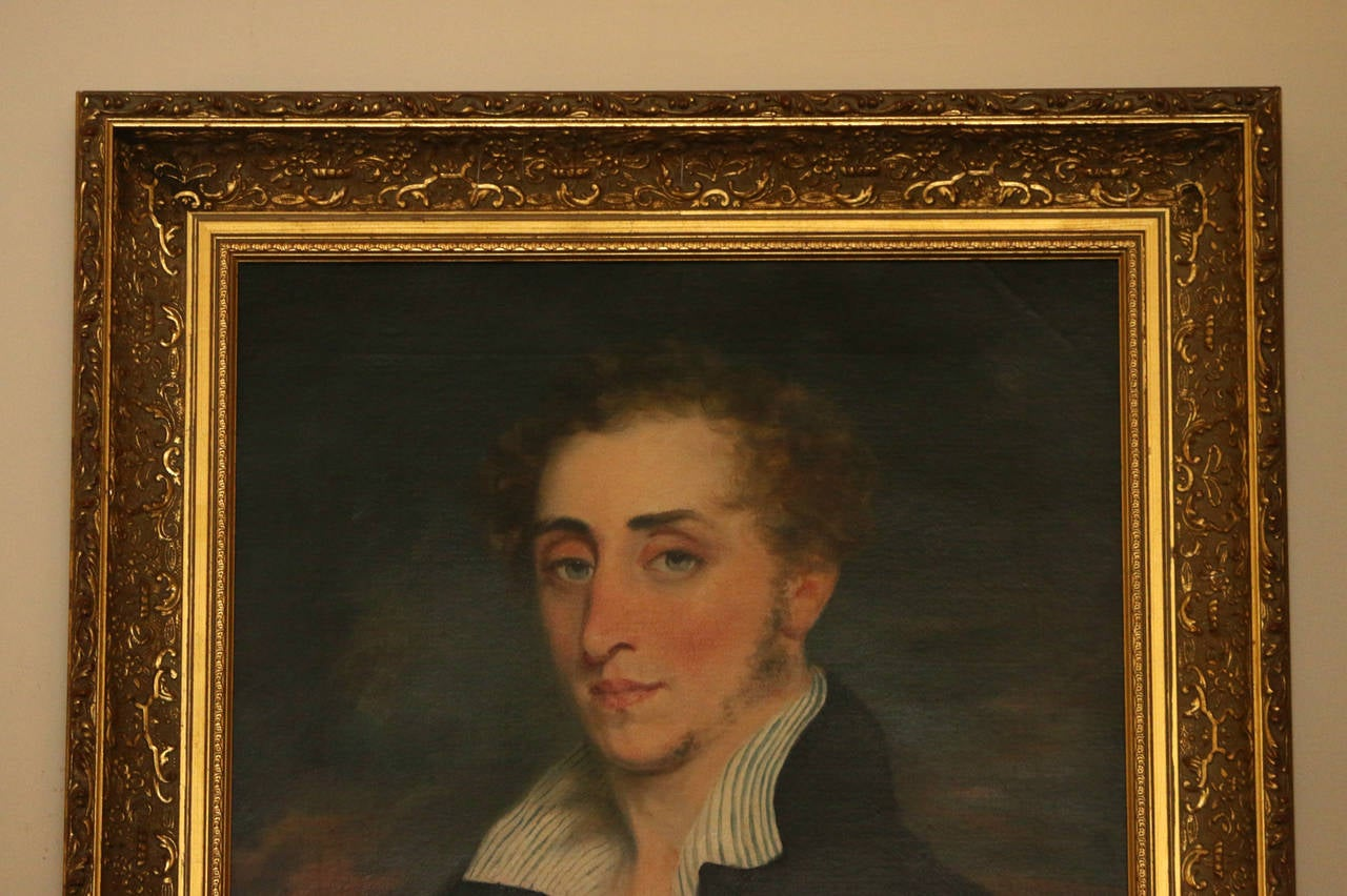 Early 19th Century 19th Century Nautical Portrait Oil Painting in Giltwood Frame For Sale