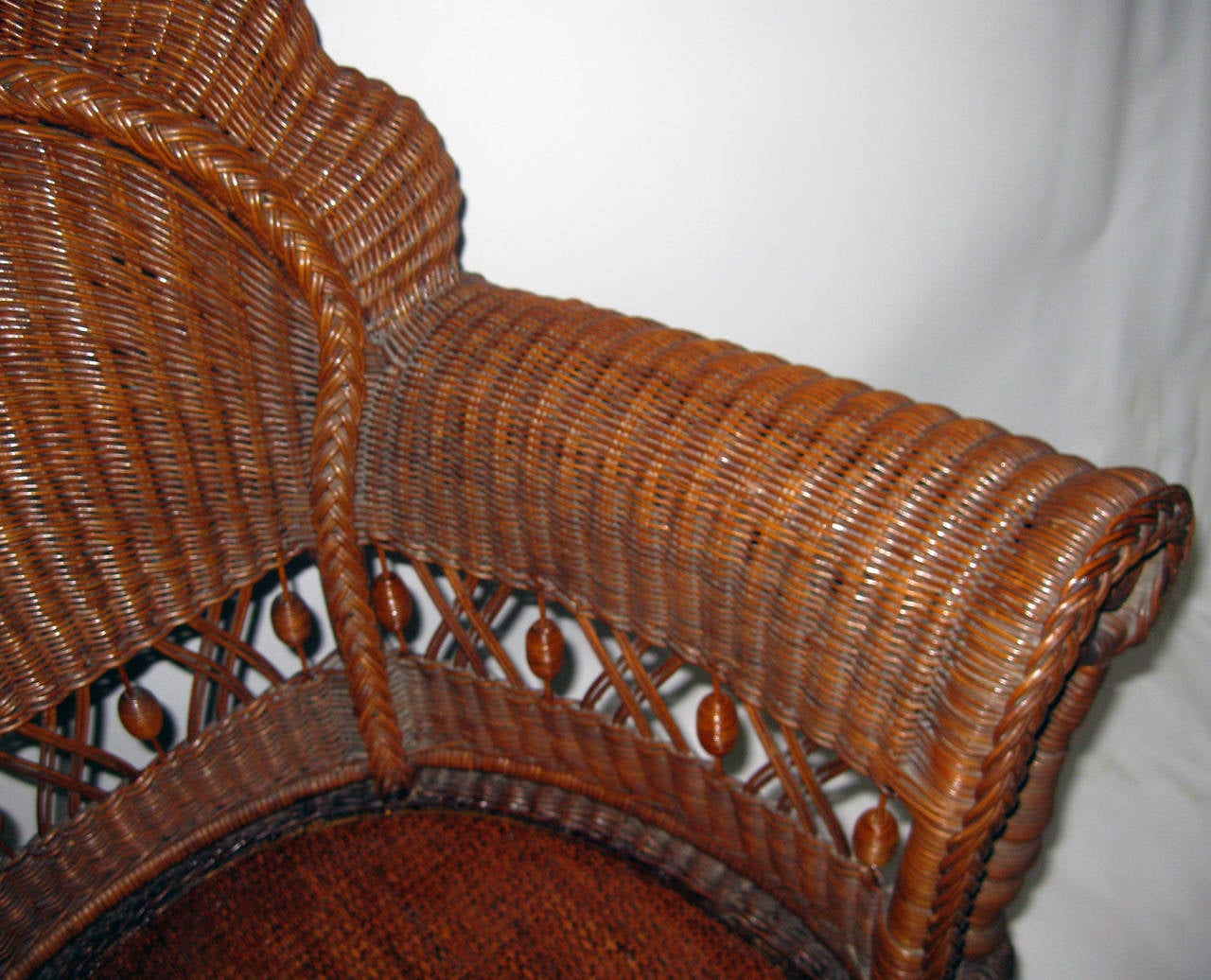 Woven 19th Century American Wicker Heywood Brothers Armchair