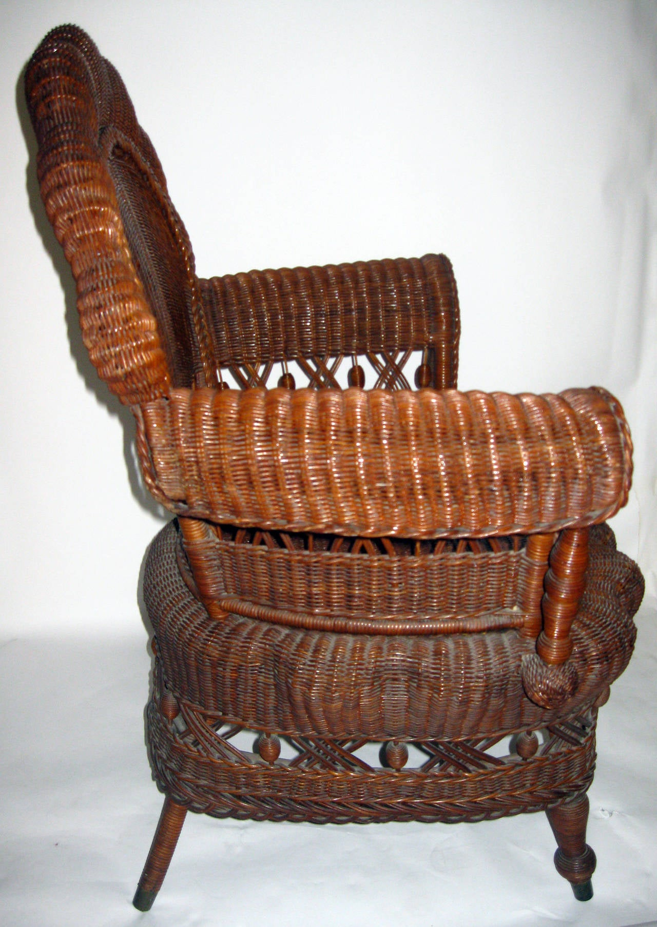 Victorian 19th Century American Wicker Heywood Brothers Armchair