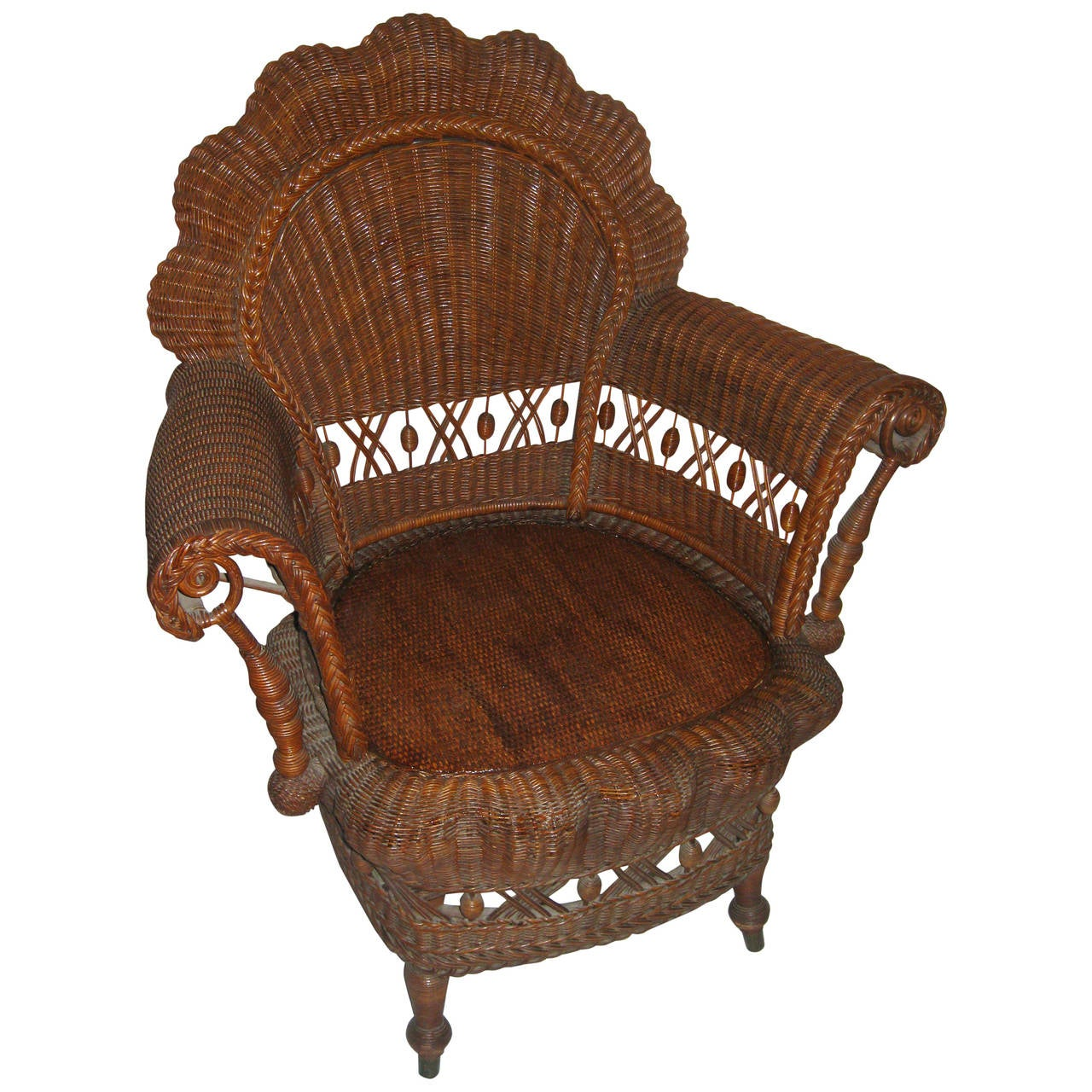 19th Century American Wicker Heywood Brothers Armchair