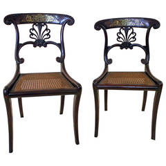 19th Century Regency Mahogany Chairs with Boulle