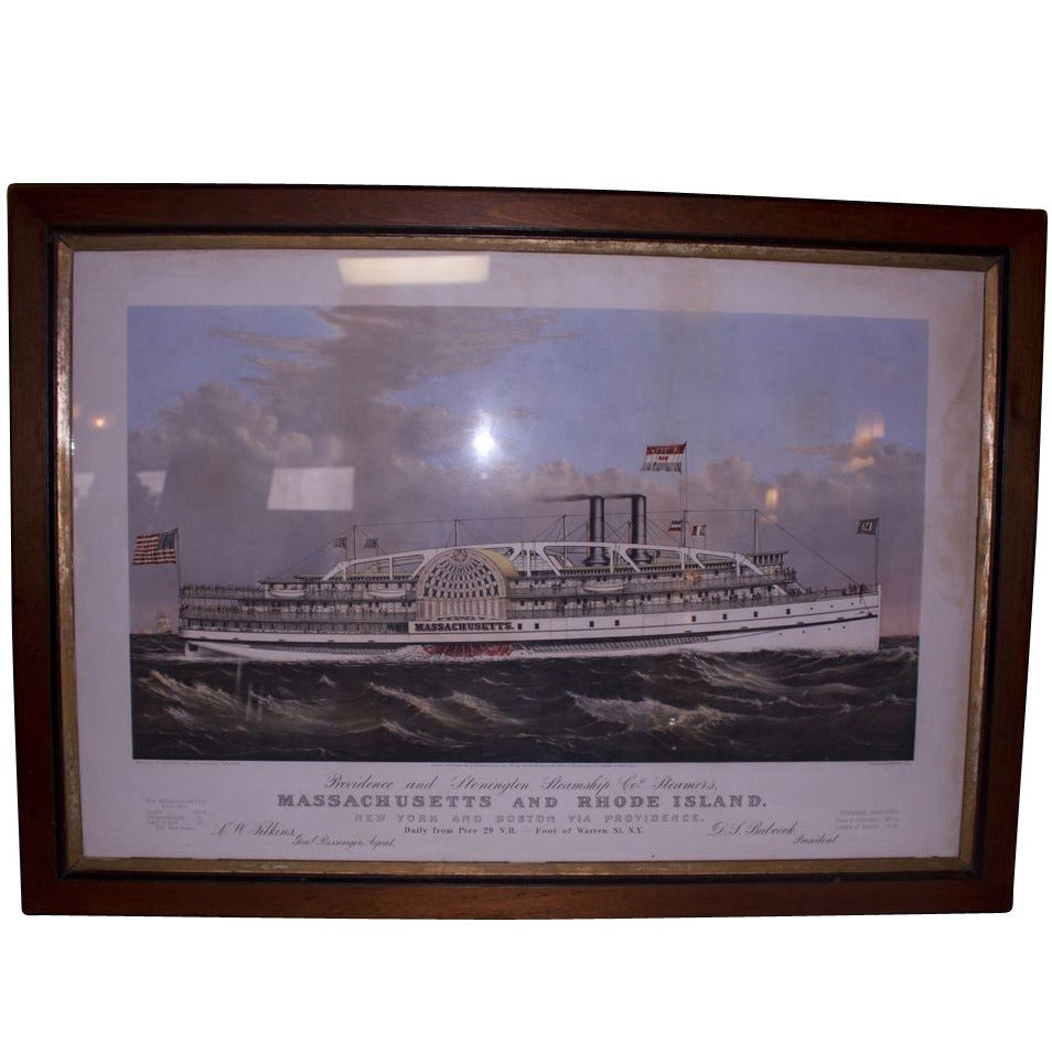 19th Century Currier and Ives Colored Lithographed Nautical Print