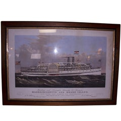 19th Century Framed Colored Lithographed Nautical Print by Currier and Ives