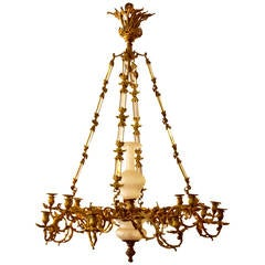 19th Century Regency Doré Bronze Chandelier