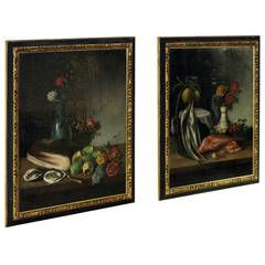19th Century Pair of Still Life Oil on Canvas Paintings