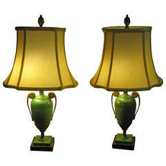Pair of Art Deco French Tole Lamps