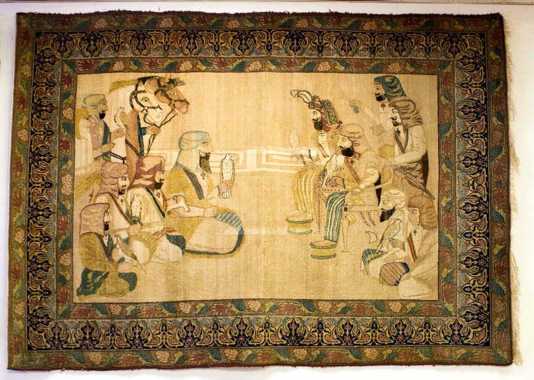 19th Century Pictorial Persian Rug For Sale at 1stdibs