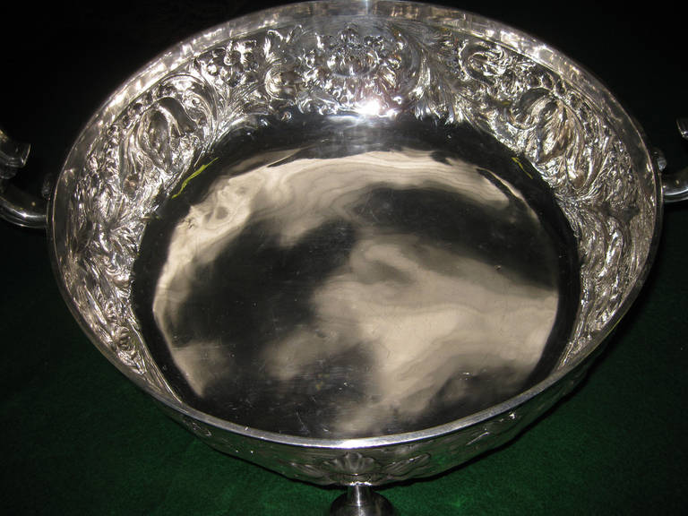 20th Century Art Nouveau English Lambert Sterling Silver Wine Cooler For Sale