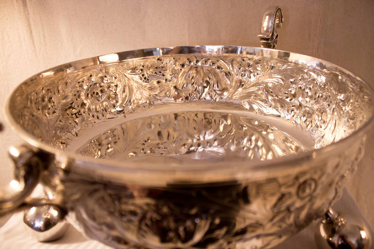 Art Nouveau English Lambert Sterling Silver Wine Cooler In Good Condition For Sale In Savannah, GA