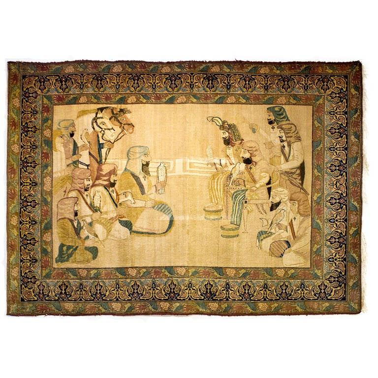 Antique Kerman Rug with Lion Pictorial, King Darius Achaemenid at ...