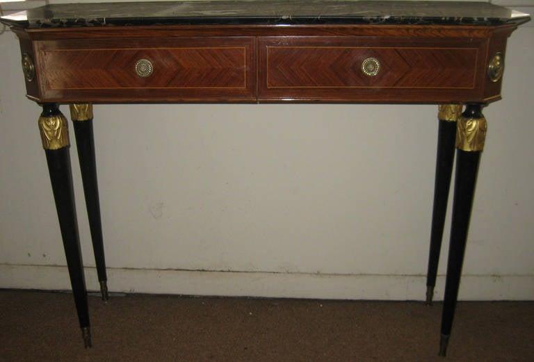 20th Century Italian Mahogany And Inlaid Kingu0027s Wood Console Table 3