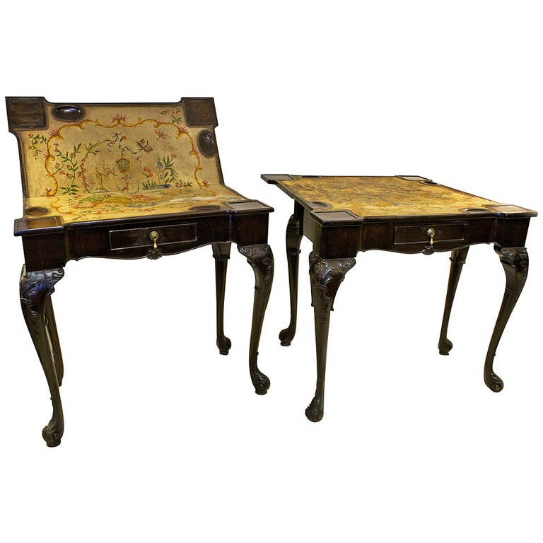 George IV Game Tables Pair Chinoiserie Needlepoint Tops