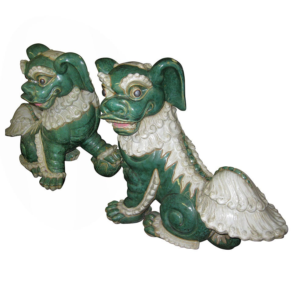 Late 19th century Pair of Glazed Porcelain Foo Dogs