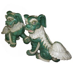 Late 19th- Early 20th Century Pair of Glazed Porcelain Foo Dogs