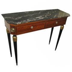 20th Century Italian Mahogany and Inlaid King's Wood Console Table
