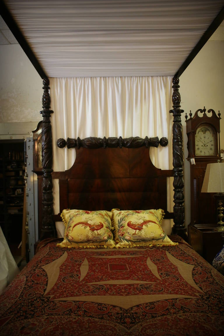 19th Century Carved Mahogany American Empire Tester Bed