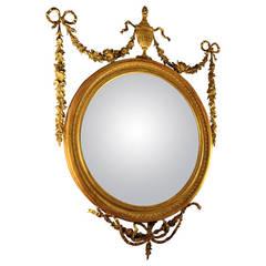 19th Century Adam Style Giltwood Convex Mirror
