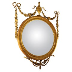 19th century Adam Style Giltwood Convex Mirror with Gessoed Swags