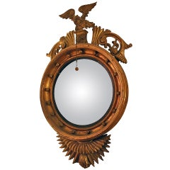 19th century American Bull's Eye Convex Giltwood Mirror with Eagle