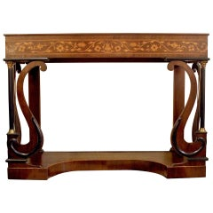 19th century Regency Mahogany Console Table with Satinwood Inlay