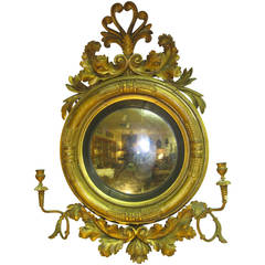 19th Century English Regency Convex Bull's-Eye Mirror