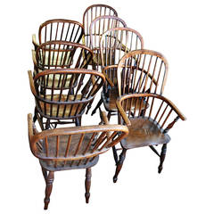 18th Century Set of Eight High Back Windsor Dining Chairs with Arms
