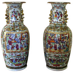 19th Century Chinese Export Temple Vases in Monumental Size