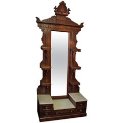19th Century Victorian Burled Walnut Étagère with Mirror