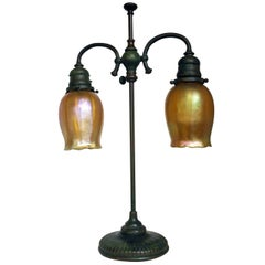 Tiffany Studios New York Signed Bronze Base and Globes Double Student Lamp