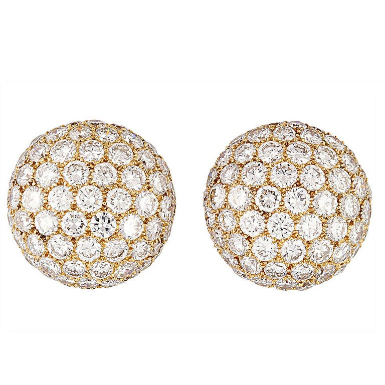 Cartier Diamond Gold Dome Earrings For Sale