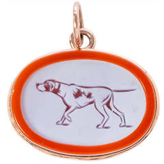 Agate Hunting Dog Pendant in Rose Gold