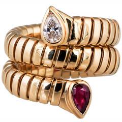 Bulgari Tubogas Ruby Diamond Gold Snake Ring