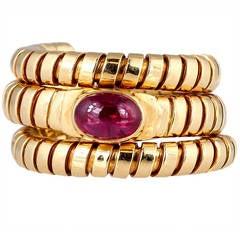 Bulgari Tubogas Ruby Yellow Gold Flexible Snake Ring