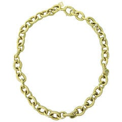 David Yurman Large Oval Cable Link Gold Necklace