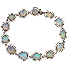 Opal Diamond Gold Bracelet