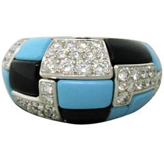 Georland France Turquoise Onyx Diamond Dome Ring