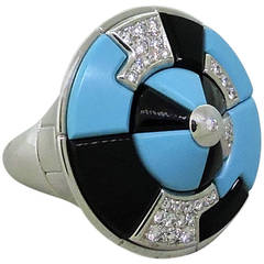 Georland France Onyx Turquoise Diamond Cocktail Ring