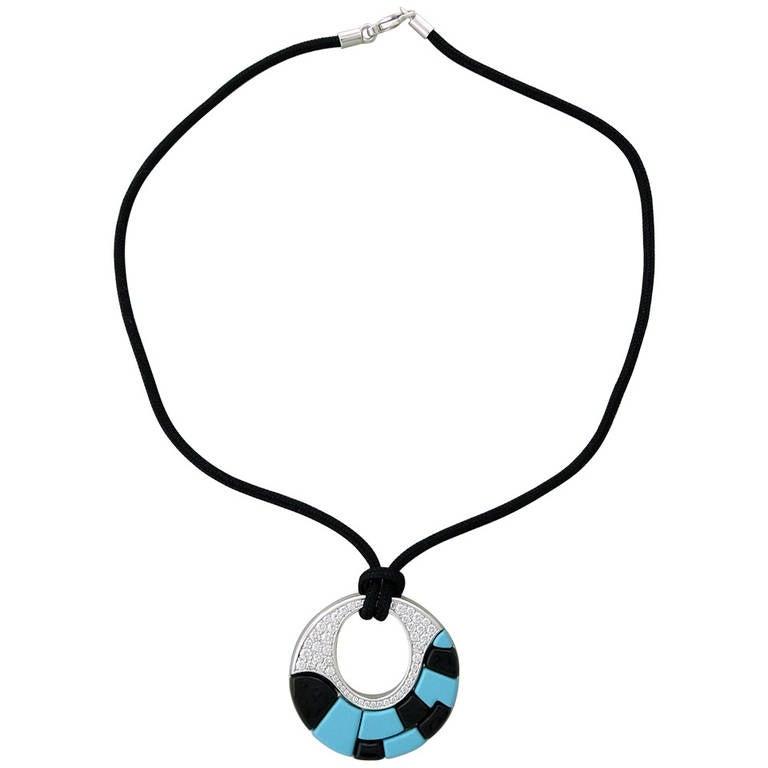 Georland France Onyx Turquoise Diamond Gold Pendant Necklace