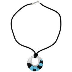 Georland France Onyx Turquoise Diamond Gold Pendant Necklace