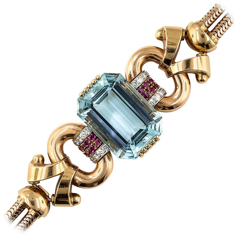 Tiffany & Co. Retro 46 Carat Aquamarine Diamond Ruby Bracelet