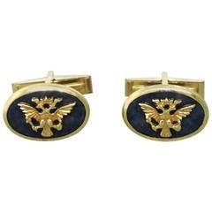 Gold Royal Eagle Blue Stone Cufflinks