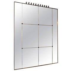 Italian Brass Framed Panelled Mirror